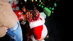 CHRISTMAS GIFT FOR HER IS A DICK AND CUM ON FACE!