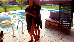Anya and a Cute Friend Shaking it at the Pool