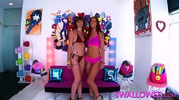 Sloppy Swallowed Debut for 2 Horny Harlots - HD